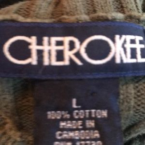 Cherokee Sweaters - Men's olive green ribbed sweater